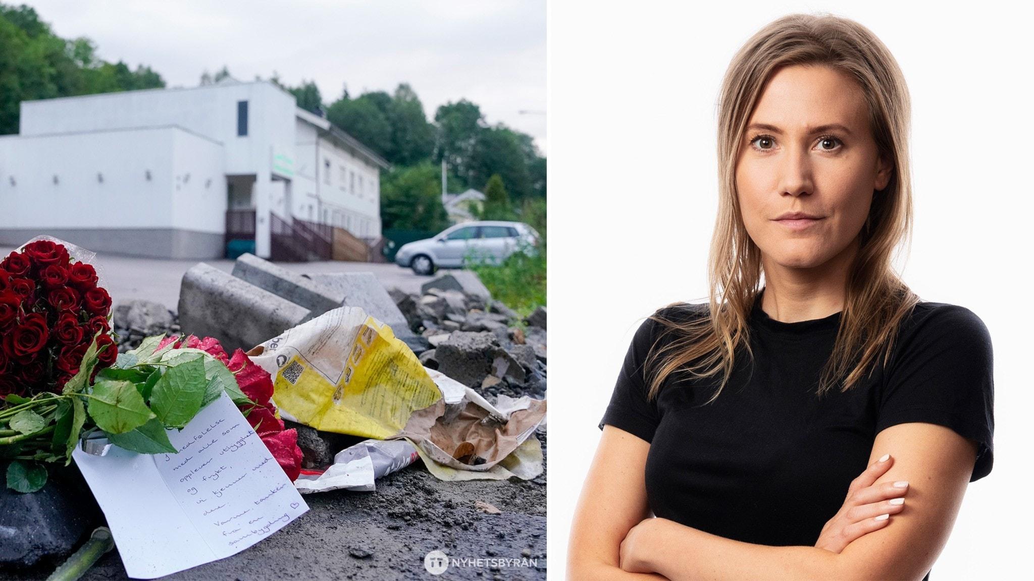 En bild på blommor framför en vit moskébyggnad och Sveriges radios korrespondent Caroline Kernen till höger om den.