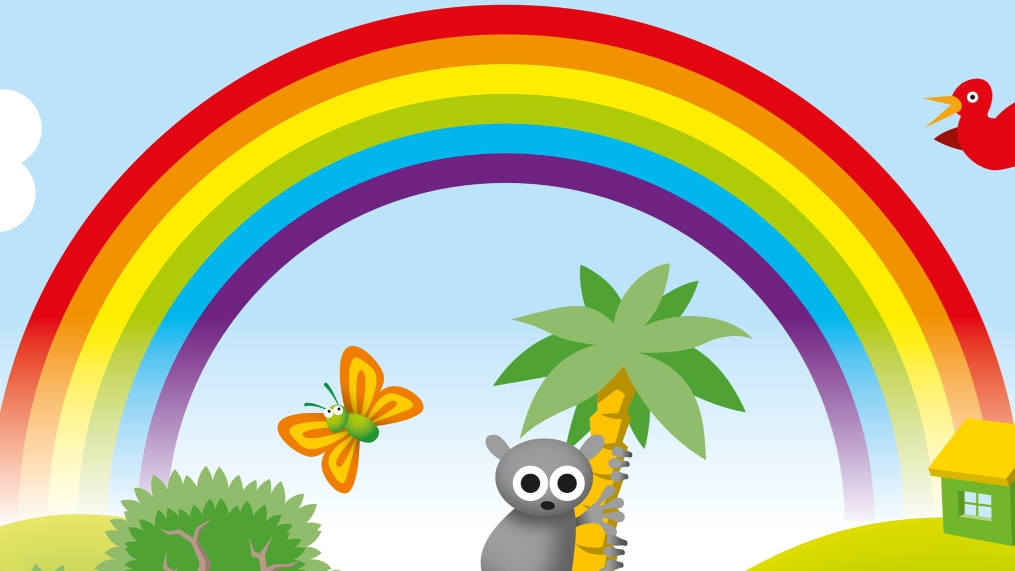 Regnbåge med många färger.