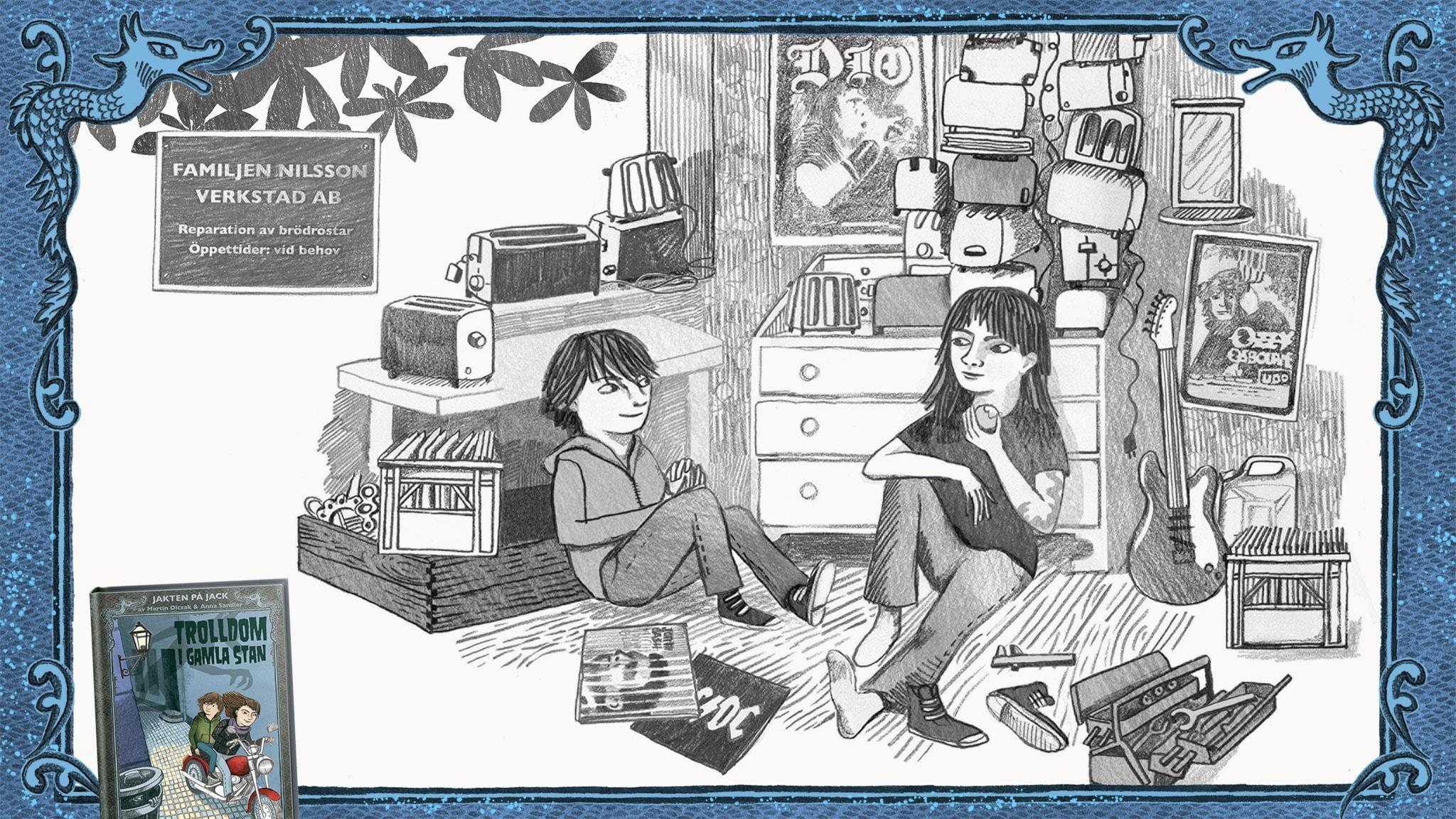 Jakten på Jack, del 1 - Jack och Betty sitter och pratar på golvet i Bettys verkstad. Bild: Anna Sandler
