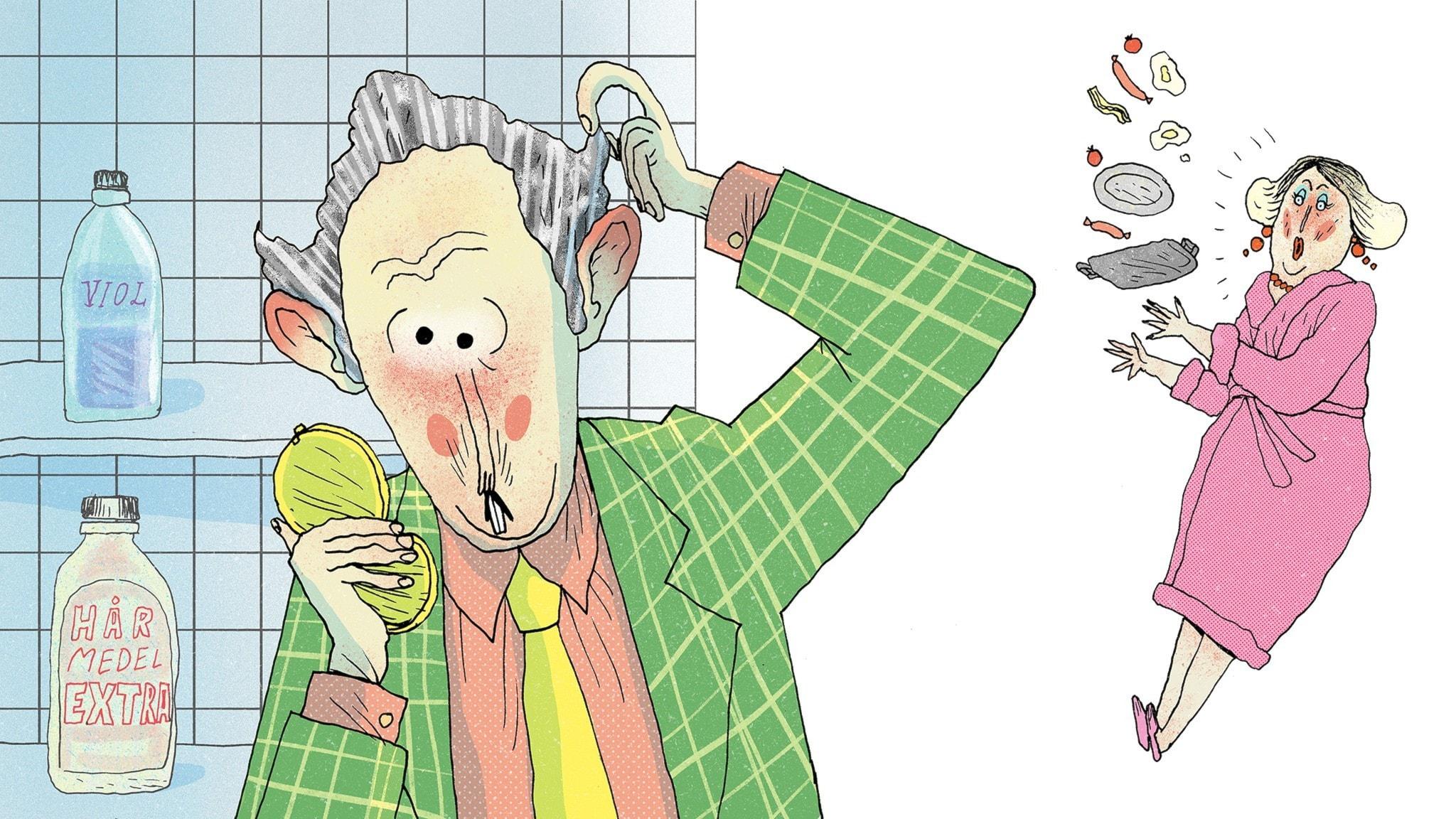 Herr Vidrigsson är i badrummet, han har fått grått hår. Fru Vidrigsson ser det och tappar brickan av förskräckelse... Bild: Erik Svetoft