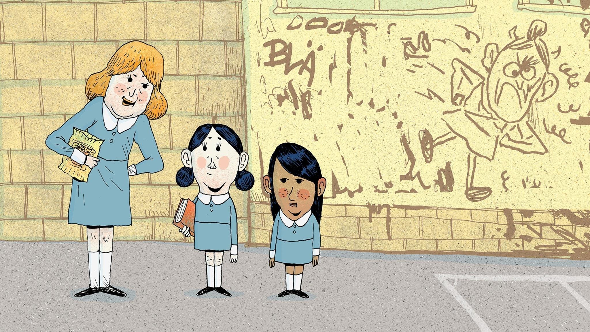 Matilda och hennes kompis Lavendel pratar med en äldre flicka på skolgården. Bild: Erik Svetoft