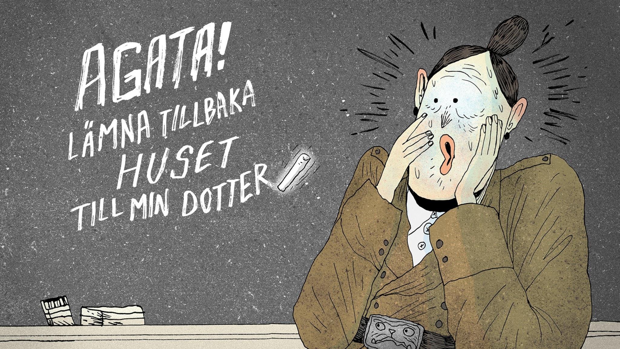 """En krita som svävar i luften skriver ett meddelande på svarta tavlan i Fröken Honungs klassrum. Det står """"Agata! Lämna tillbaka huset till min dotter"""". Fröken Domderasson läser orden och blir helt förskräckt. Bild: Erik Svetoft"""