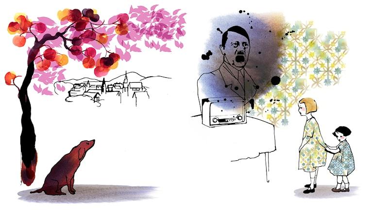 Historien om Bodri, av Hédi Fried och Stina Wirsén. Bilden visar illustrationer på Hédi, hennes lillasyster och hunden Bodri. Bild: Stina Wirsén