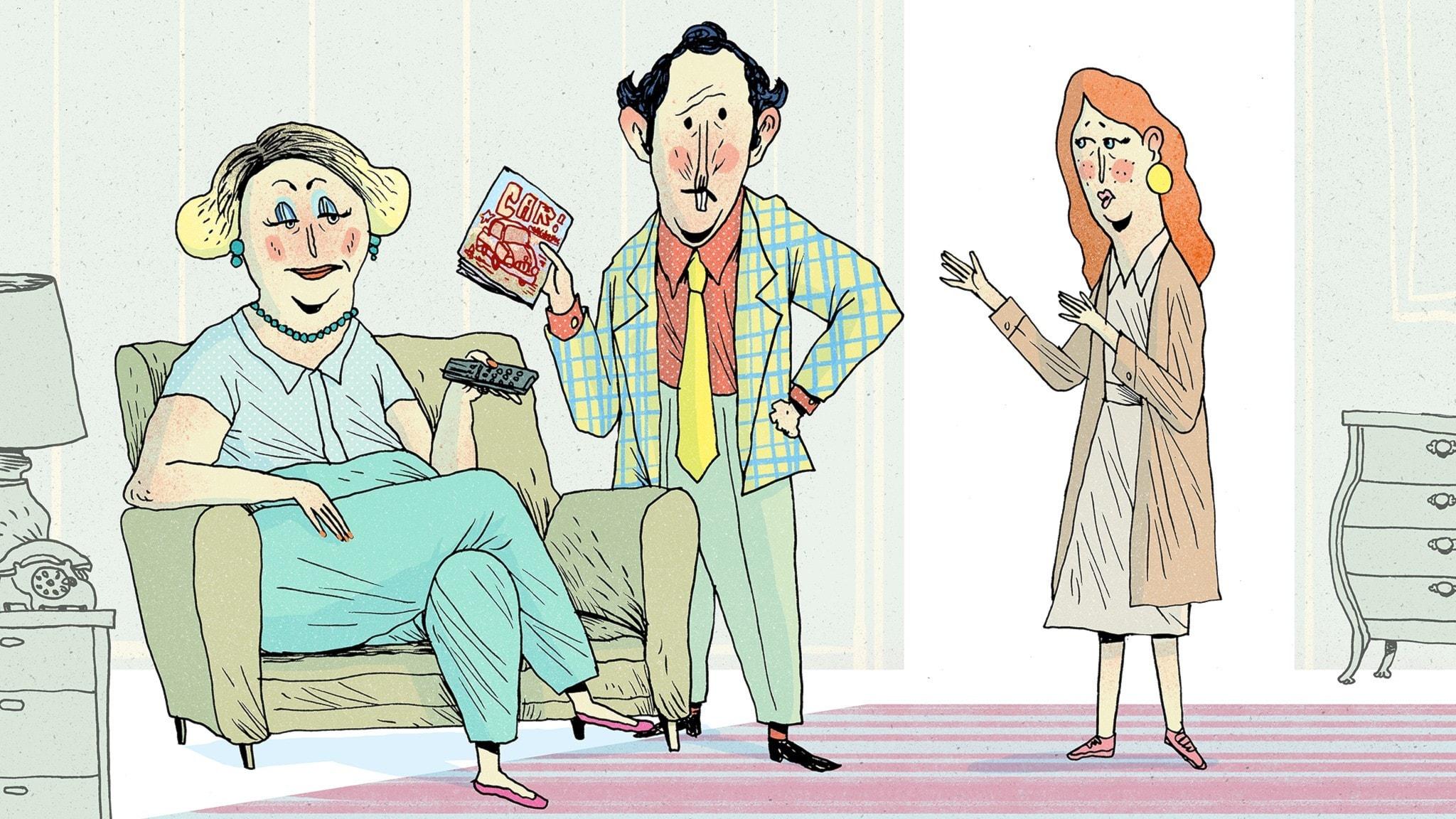 Fröken Honung besöker Matildas föräldrar som mest vill titta på TV. Bild: Erik Svetoft