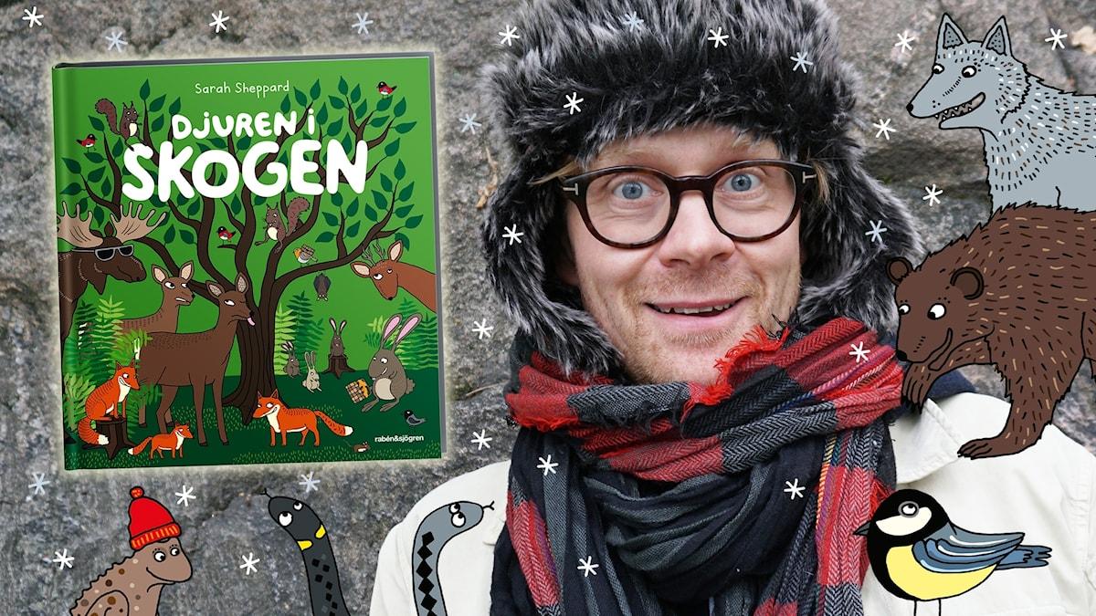 "Anders Johansson läser om vintern ur boken ""Djuren i skogen"". Illustrationer: Sarah Sheppard Foto: Victor Holm Lagerqvist/SR"