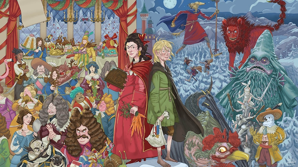 Papperskalenderns framsida. Ett myller av karaktärer och väsen, med huvudkaraktärerna Ottilia och Amund i mitten av bilden