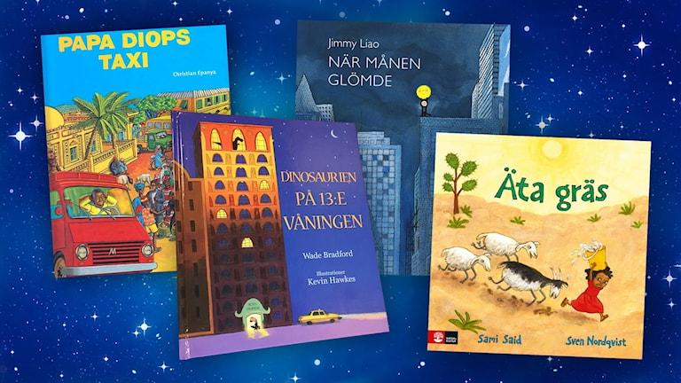 Collage med fyra bokomslag till sagoveckan.