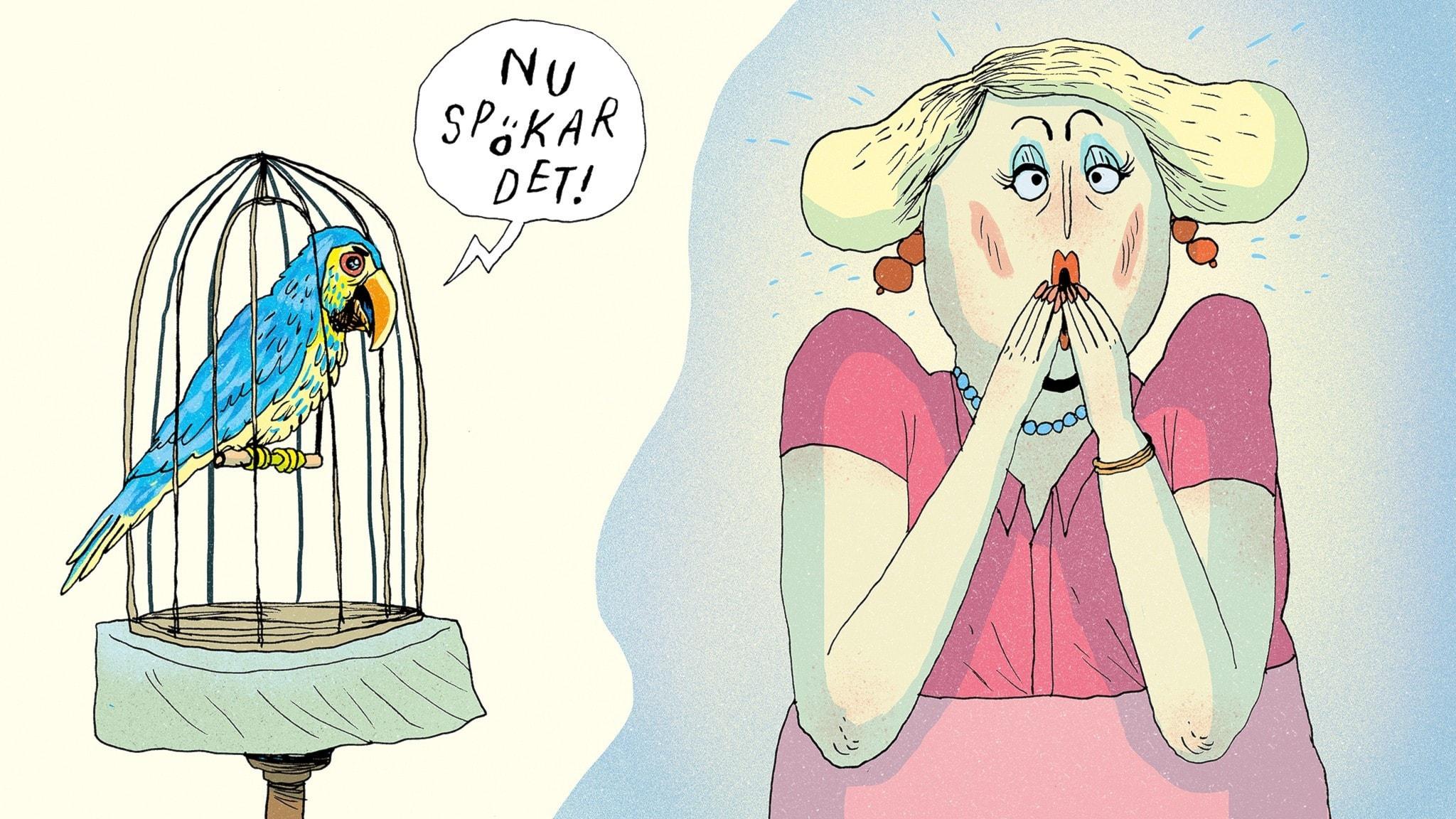 """En papegoja i en bur säger """"Nu spökar det"""" och Matildas mamma hör det och blir rädd. Bild: Erik Svetoft"""