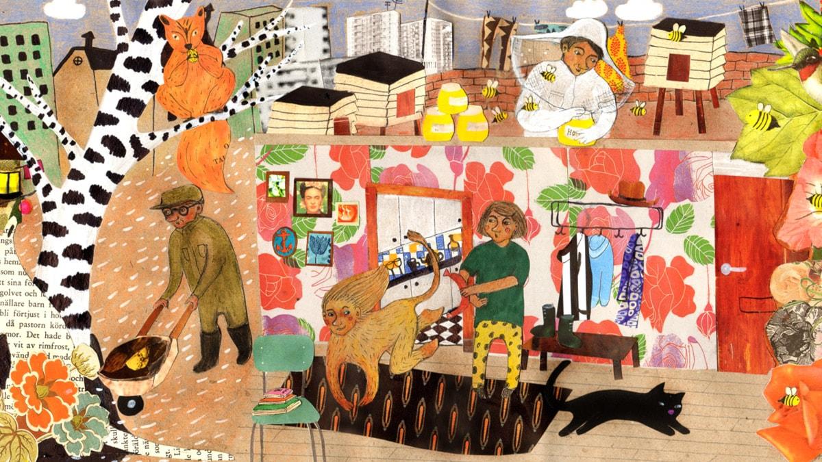 Varför-trollet stökar ner i familjens garderober. Illustration: Moa Sandblad.