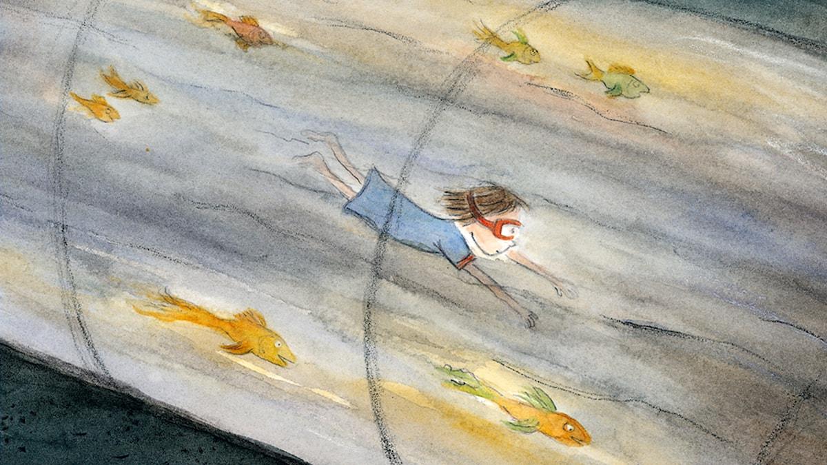 Godnattsagor: Mamman och havet. Illustration: Anna-Clara Tidholm