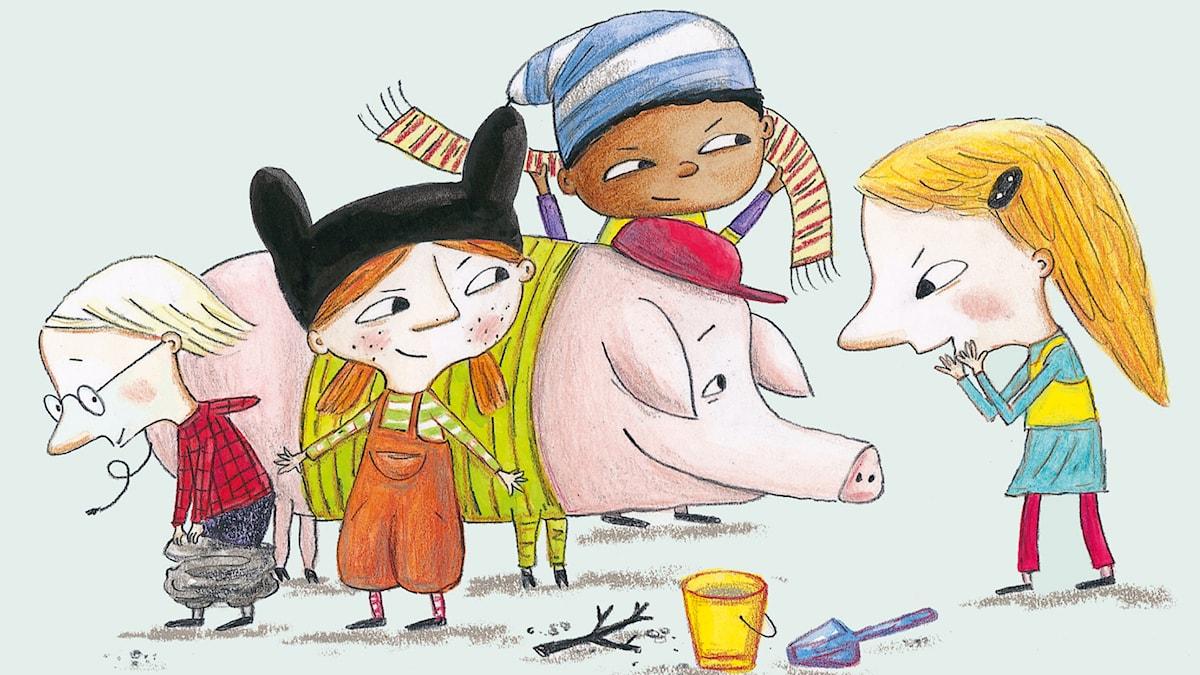 Godnattsagor: Det är en gris på dagis. Illustration: Charlotte Ramel
