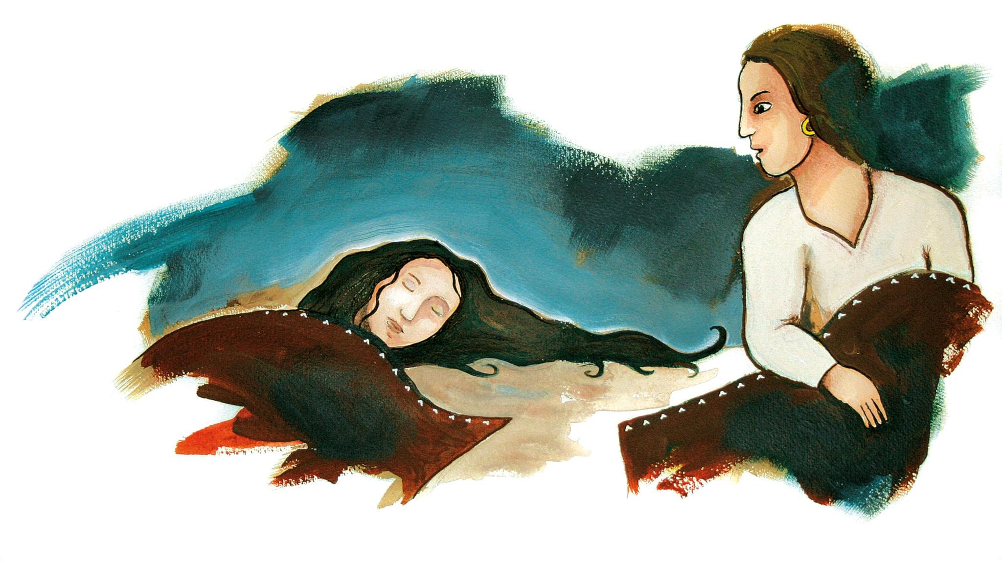 Raija och den förtrollade hästen. Illustration: Jonas Rahm.