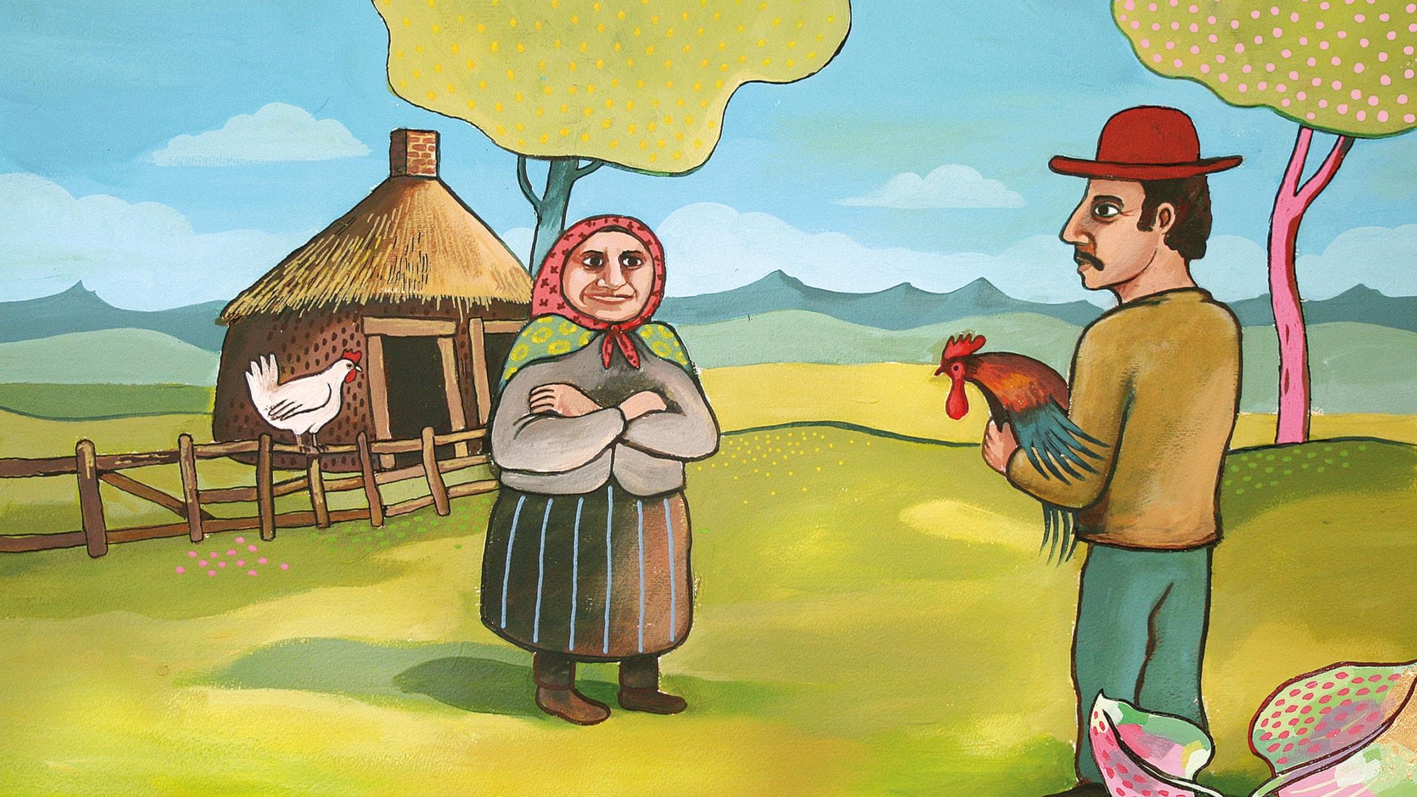 Gubben och den kloka tuppen. Illustration: Jonas Rahm.