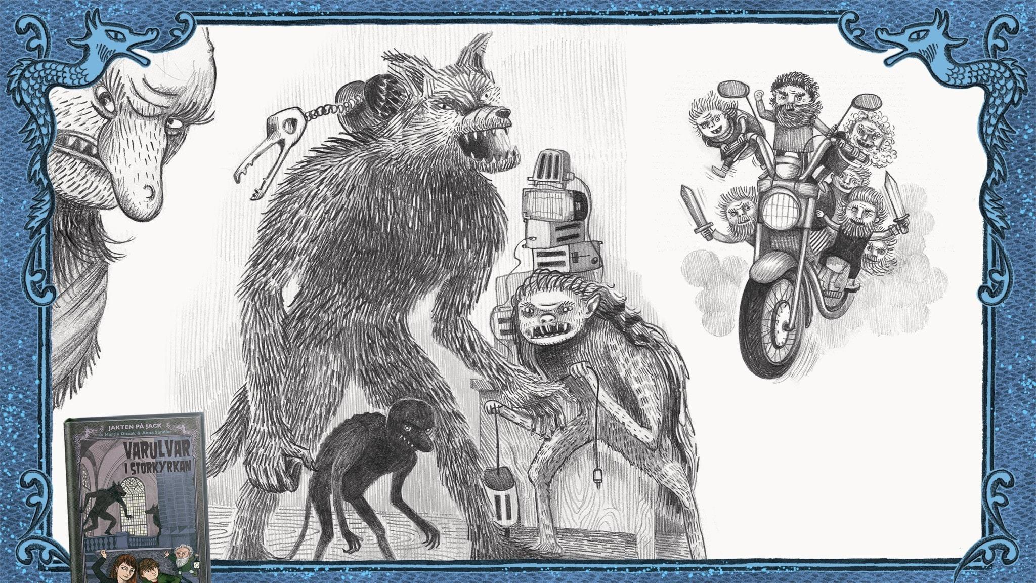 Jakten på Jack, del 15 - Ett bergstroll, en varulv, en vittra och en svartalv är i Bettys verkstad. Bild: Anna Sandler