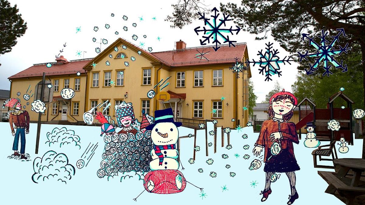 Skolgården är vit. Illustration: Mira Wood / UR.