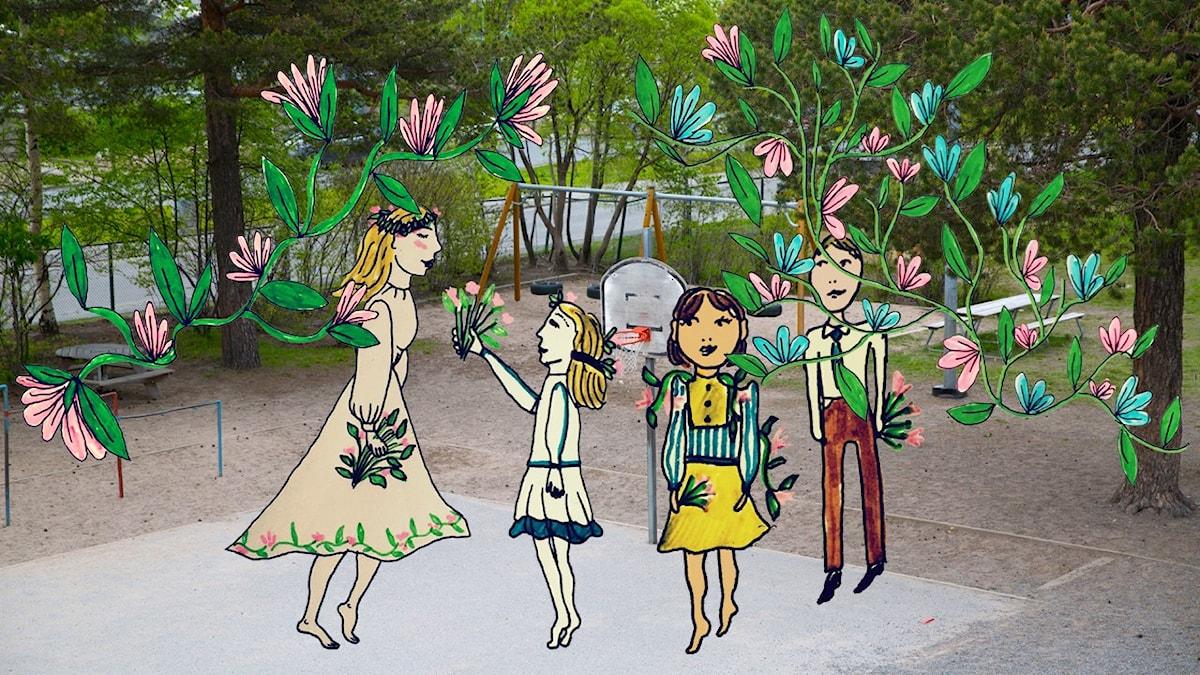 Sommarlov vi väntar på. Illustration: Mira Wood / UR.