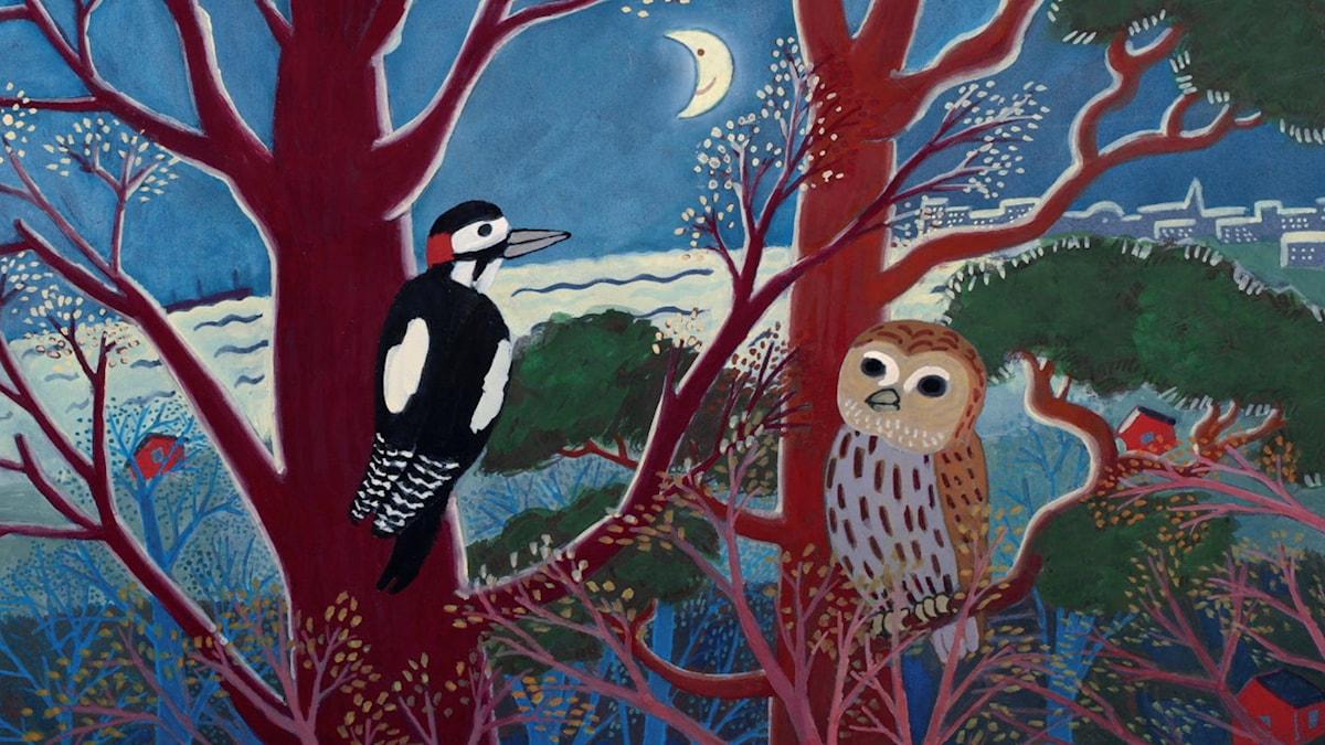 Tripp Trapp Träd, Fågel fågel på grenen där. Illustration: Anna Bengtsson
