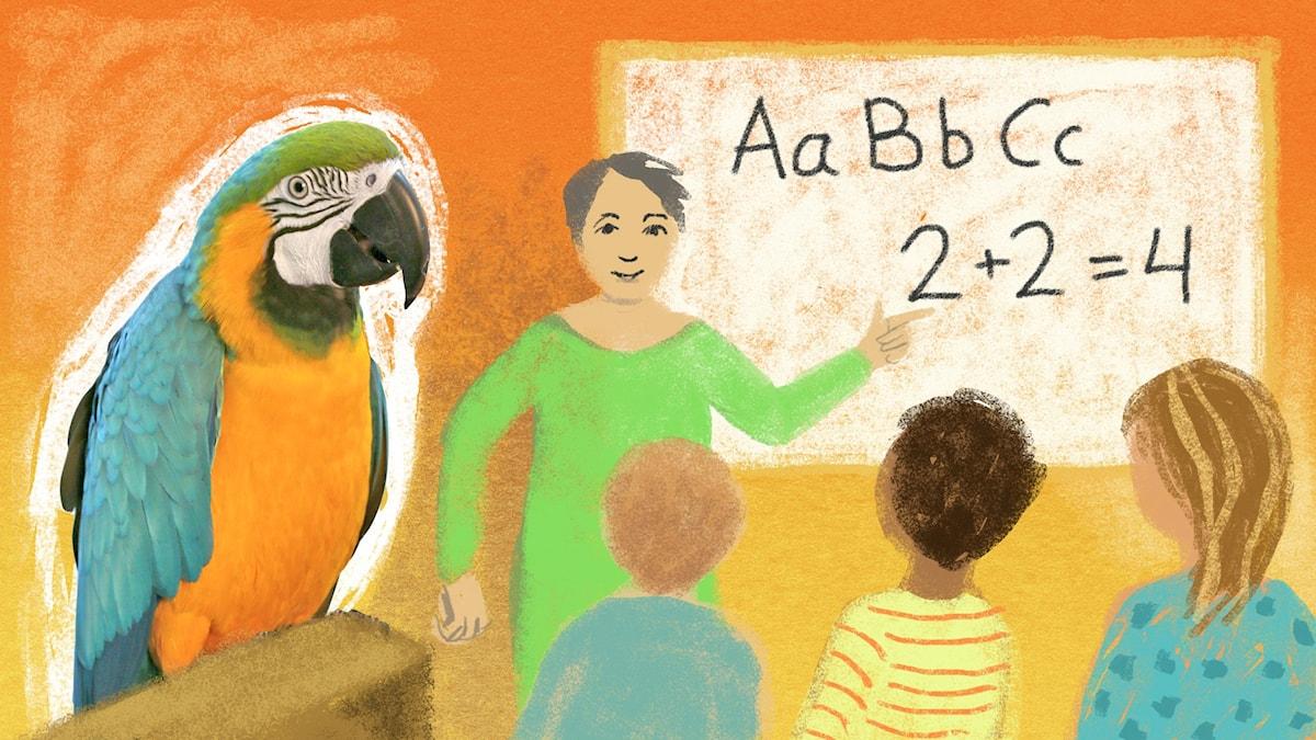 Bengt och Bodil går i skolan. Illustration: Maria Beskow.