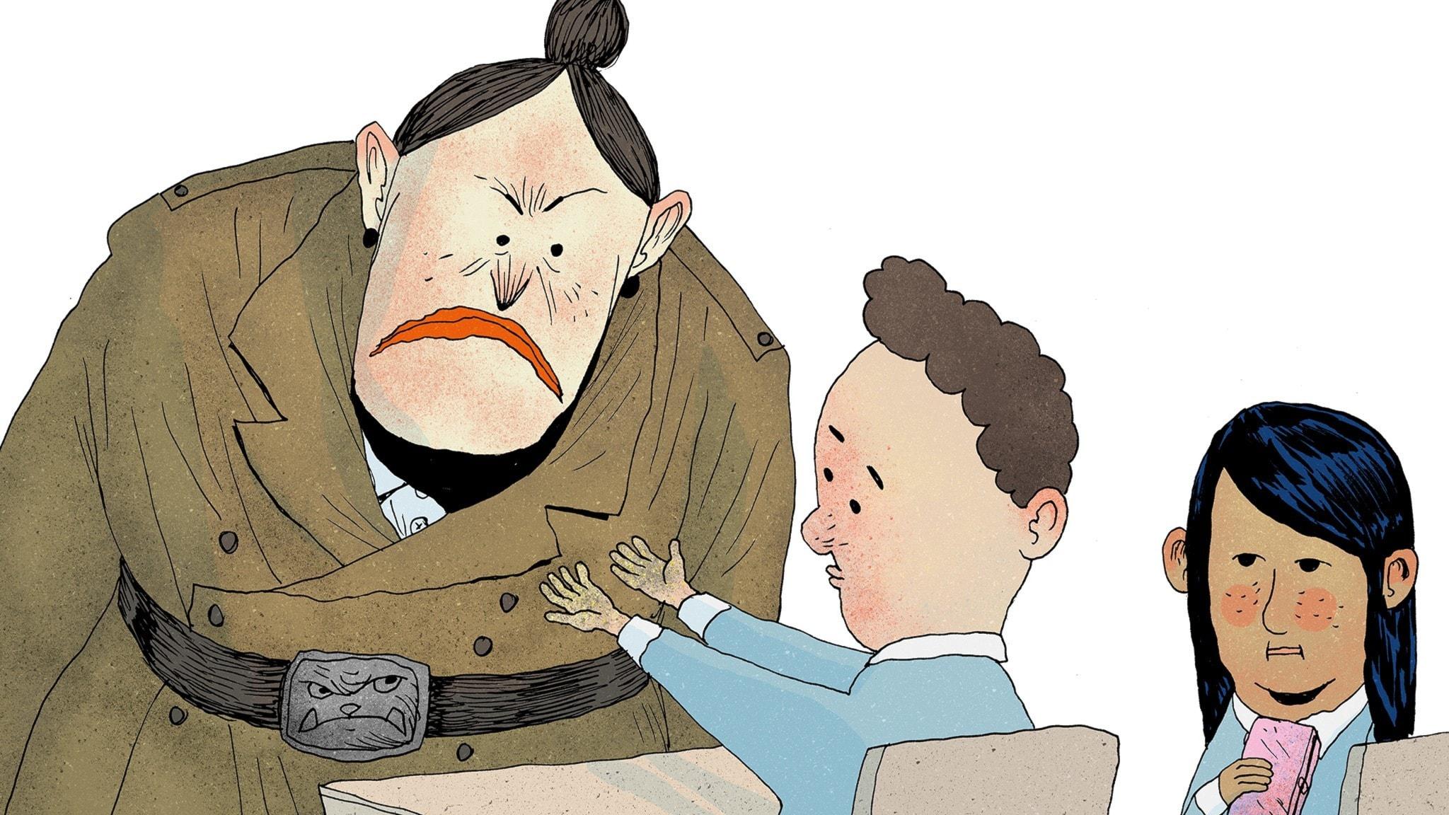 Fröken Domderasson inspekterar händerna på en pojke i Matildas klass och kollar om de är rena. Det är de inte. Bild: Erik Svetoft