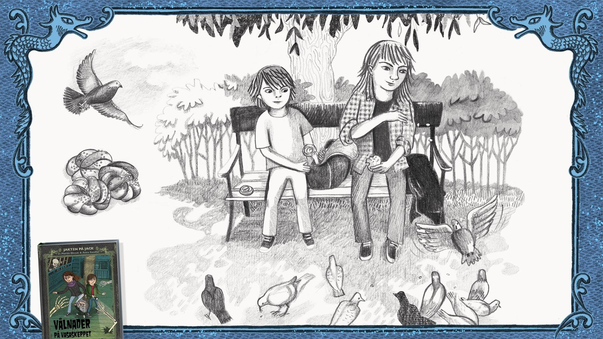 Jakten på Jack, del 8 - Jack och Betty matar duvor med bullar. Bild: Anna Sandler