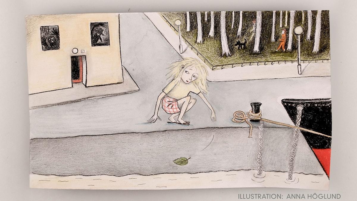 Flickan, mamman och soporna. Illustration: Anna Höglund.