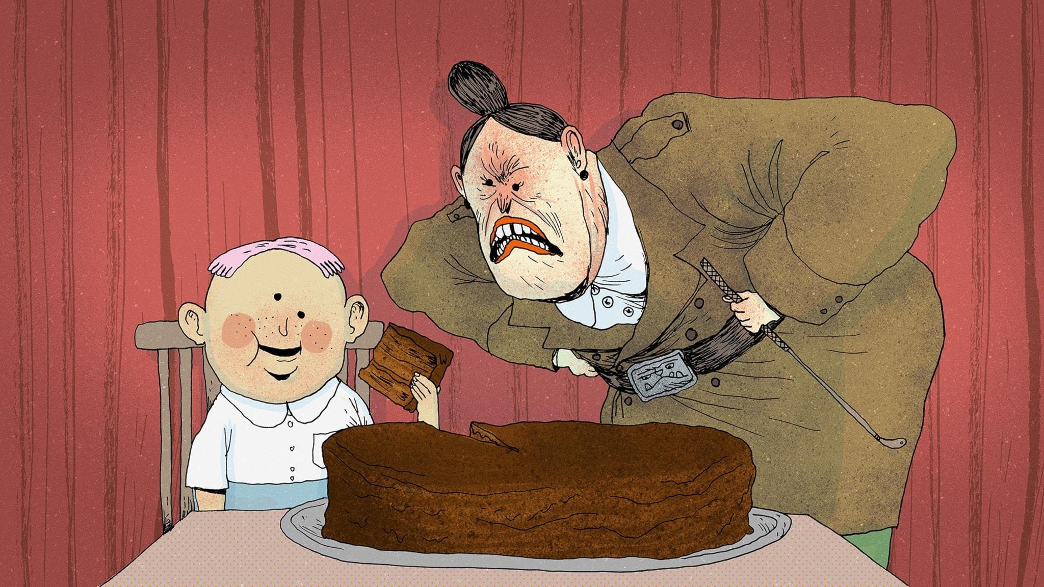 Rektor Domderasson böjer sig ner mot en pojke som sitter vid ett bord där det står en enorm chokladkaka. Hon ser arg ut. Bild: Erik Svetoft