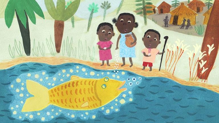 Sagor från Senegal: Bintou och fisken. Illustration: Sara Gimbergsson
