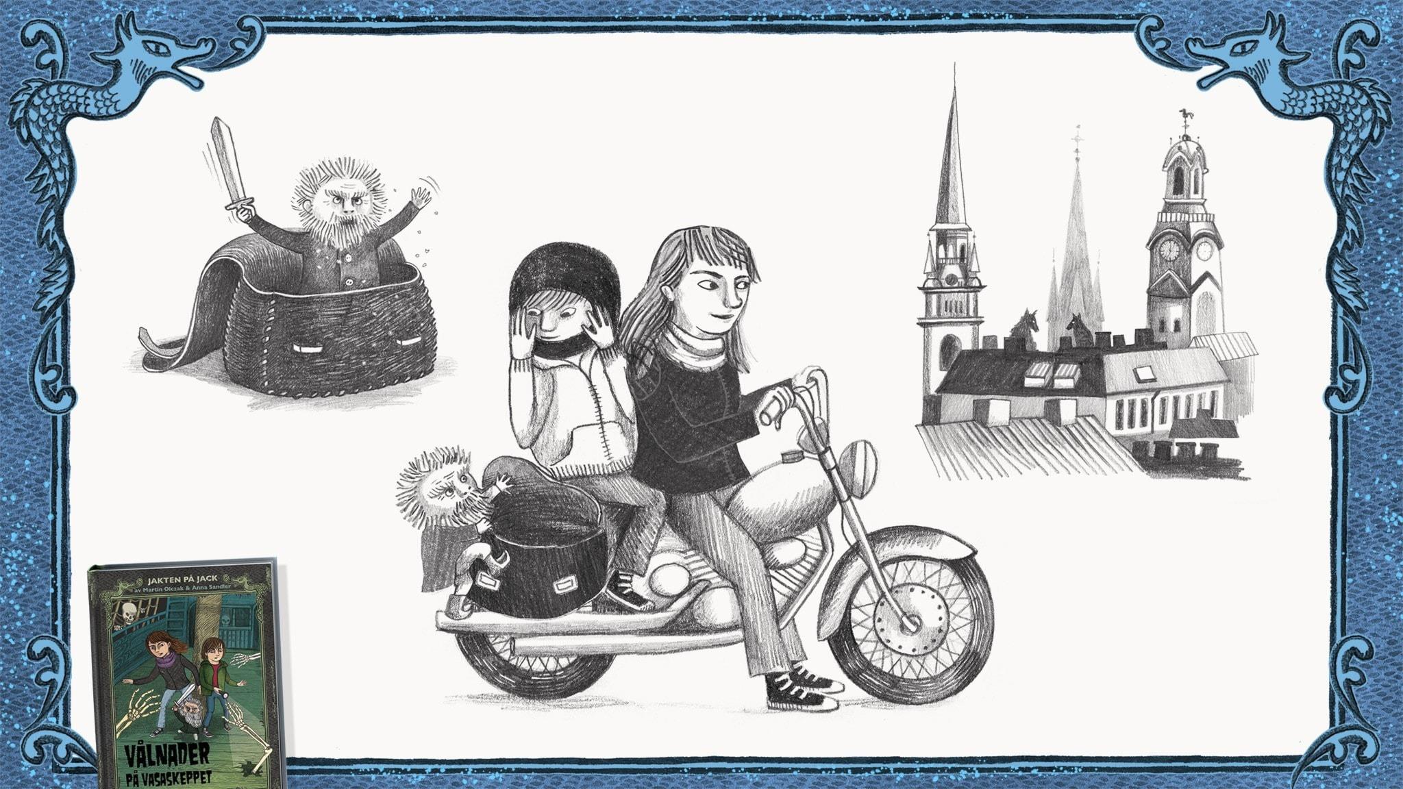Jakten på Jack, del 6 - Jack, Betty och Rurik åker på Bettys motorcykel. De ser varulvar som vaktar över hustaken i Gamla Stan. Bild: Anna Sandler
