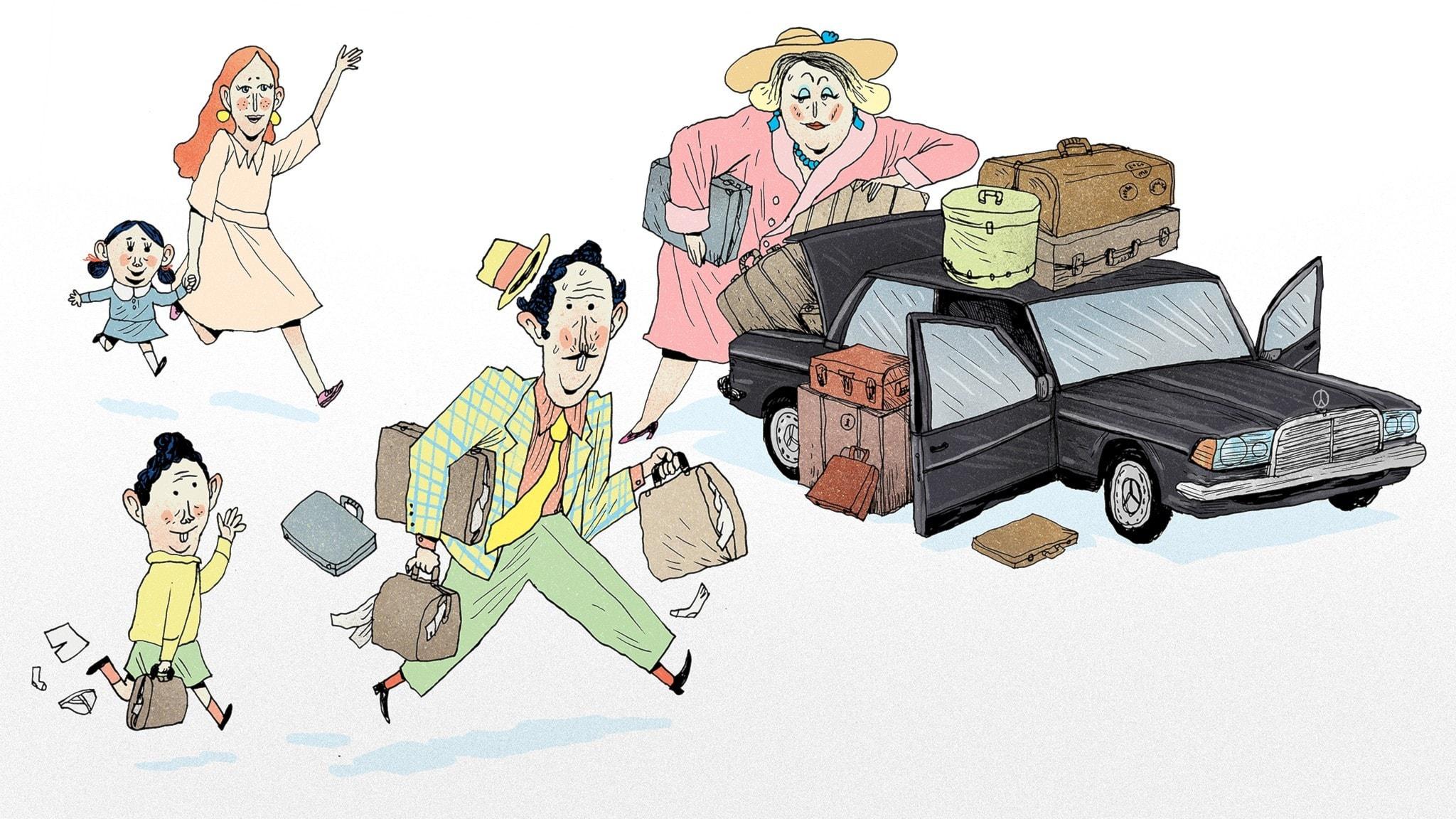 Familjen Vidrigsson packar sin bil i all hast, de ska resa bort. Matilda och fröken Honung kommer springande mot dem och vinkar. Bild: Erik Svetoft