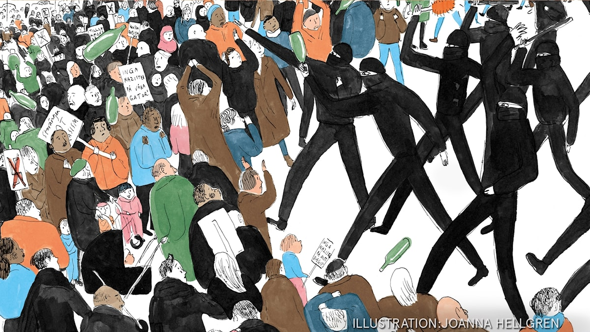 Min Brorsa heter Noa  Del 3: Det blir bråk på torget. Illustration: Joanna Hellgren