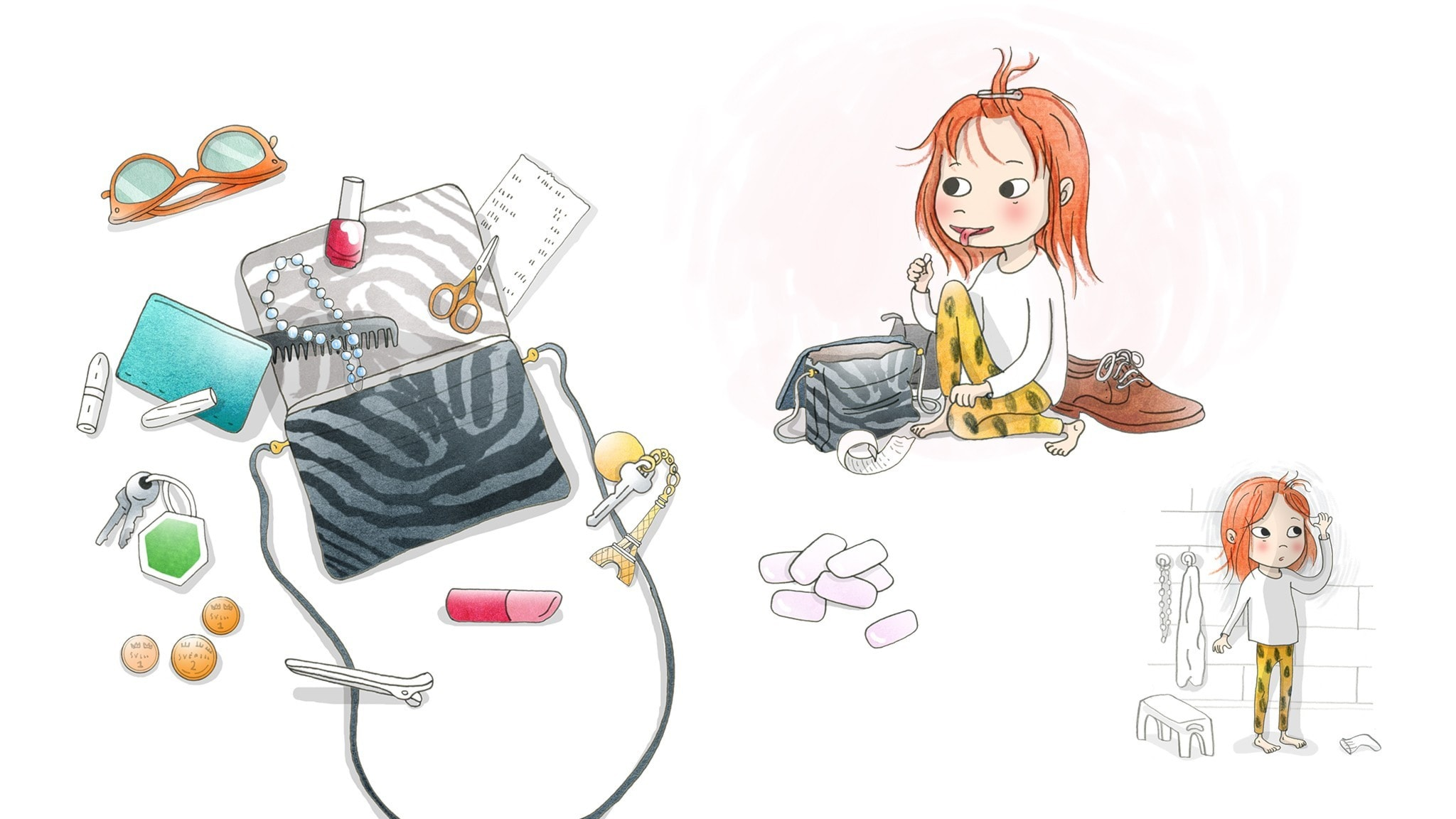 Saga sitter på golvet och sorterar mammas väska. Illustration: Emma Göthner