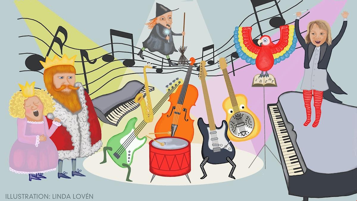 Bråkorkestern Del 7: Jazzmusik. Illustration: Linda Lovén