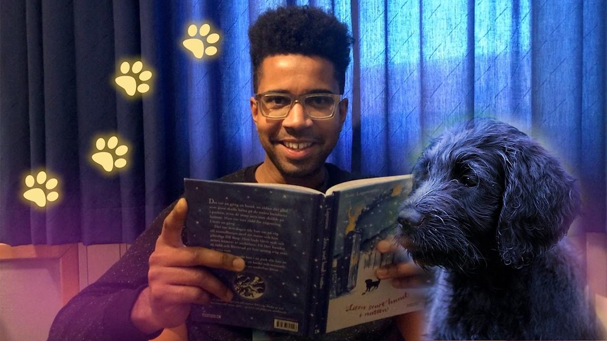 "Yankho läser boken ""Liten svart hund i natten"" i Barnradion. Foto på Yanho: Emilia Traneborn"