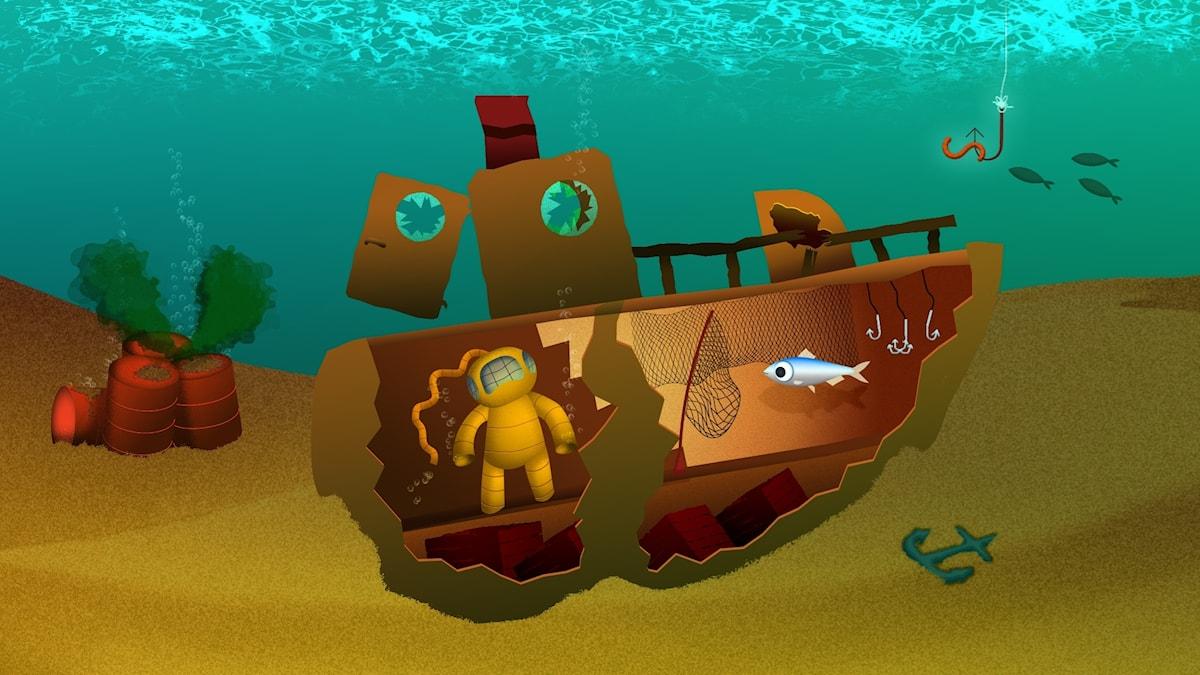 Under ytan, del 2. Illustration: Mattias Stridbeck.