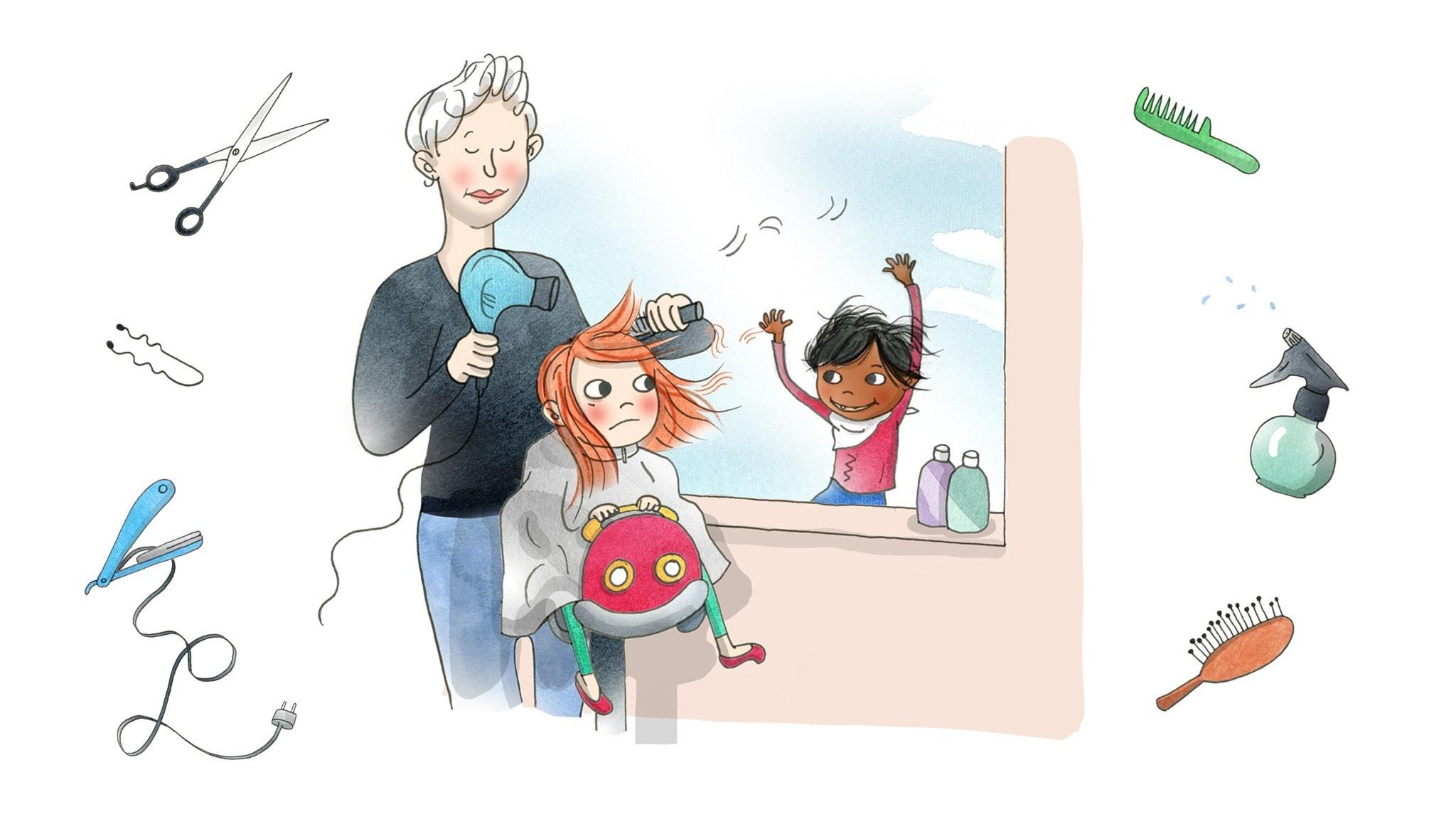 Saga sitter hos frisören som blåser hennes hår. Illustration: Emma Göthner