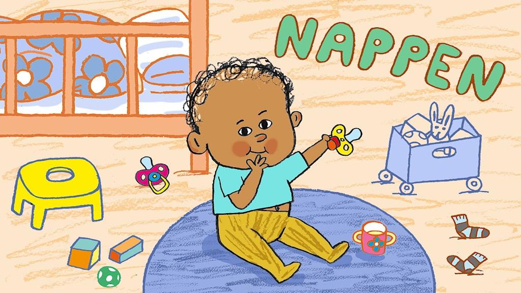Bebispodden om nappar. Ett barn sitter på golvet och leker och smakar på sin goda napp.