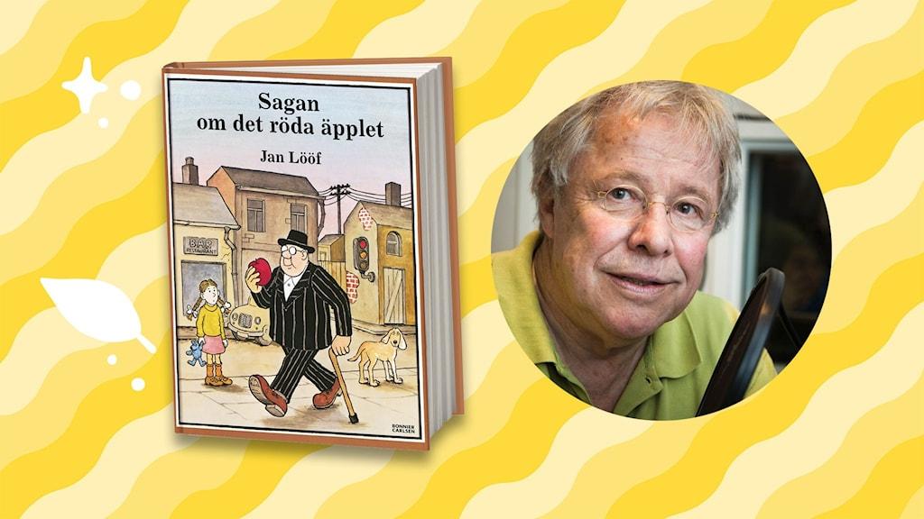 Bokomslag med Sagan om det röda äpplet - och ett foto av Sven Wollter. Foto: Micke Grönberg/SR
