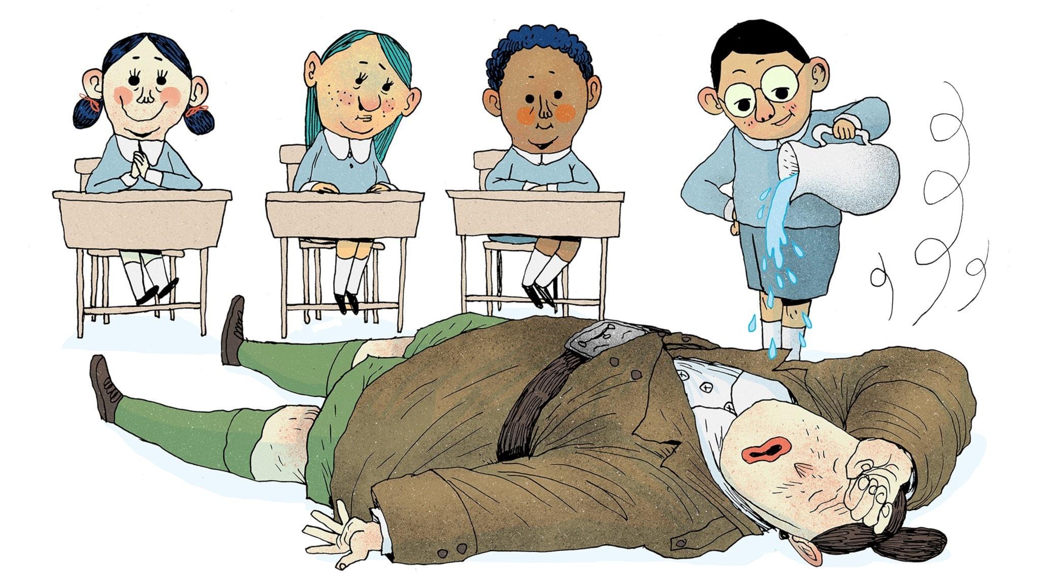 Fröken Domderasson har svimmat på golvet framför eleverna. En pojke häller vatten på hennes ansikte ur en karaff. Matilda sitter i sin bänk och ser glad ut. Bild: Erik Svetoft