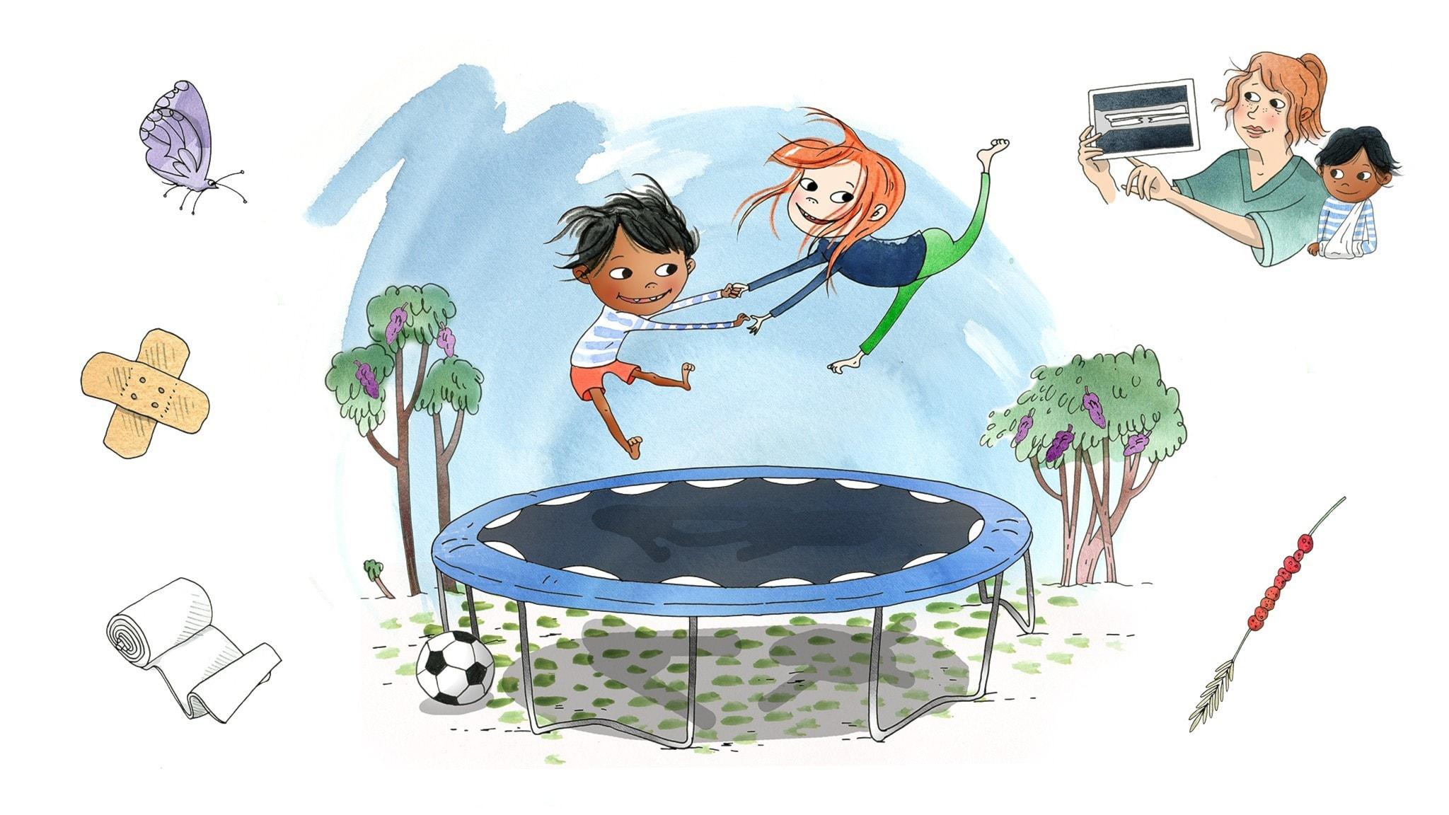Saga hoppar studsmatta med sin kompis Samir. Illustration: Emma Göthner