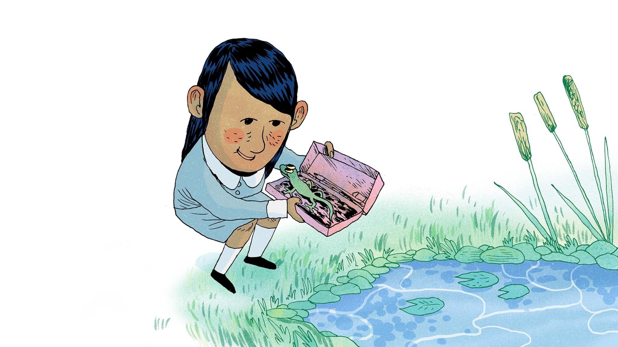 Matildas kompis Lavendel fångar en vattenödla. Bild: Erik Svetoft