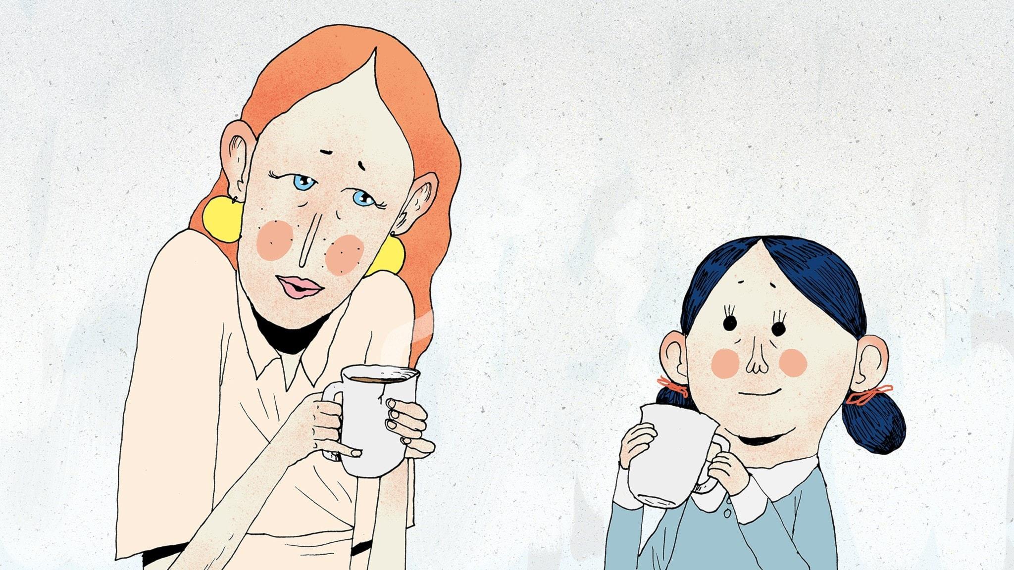 Fröken Honung och Matilda håller i varsin tekopp och pratar med varandra. Bild: Erik Svetoft