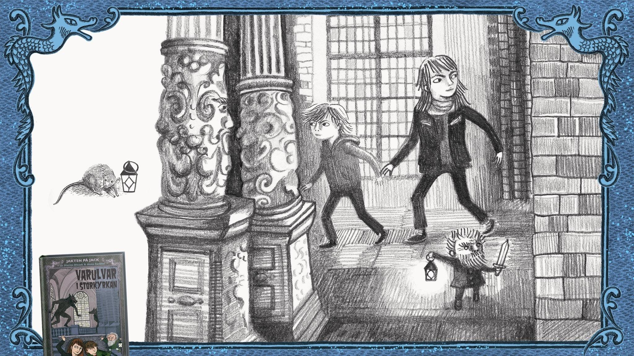 Jakten på Jack, del 13 - Jack, Betty och Rurik smyger genom Storkyrkan. Bild: Anna Sandler