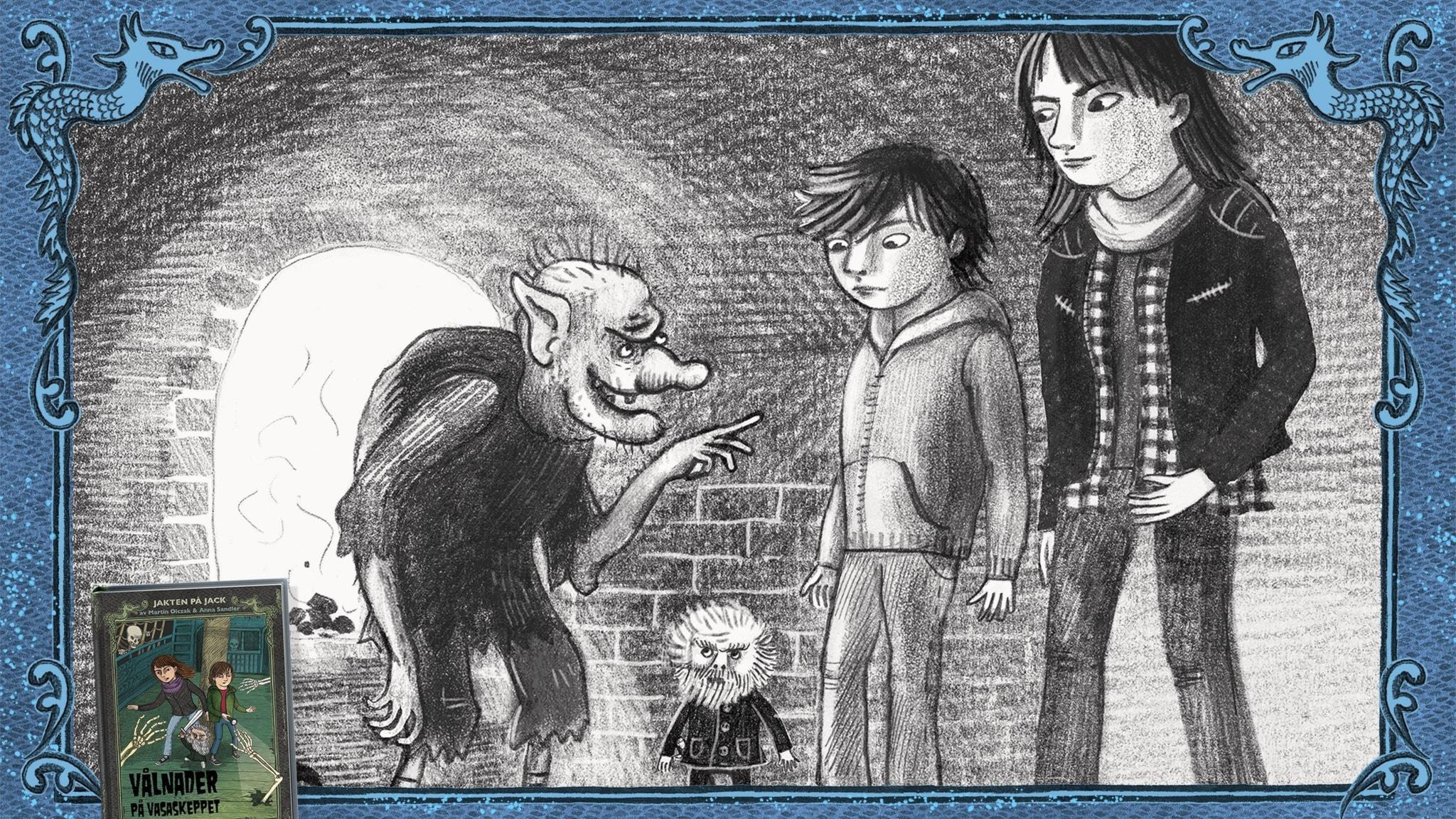 Jakten på Jack, del 7 - Jack, Betty och Rurik pratar med dvärgen Gråtand. Bild: Anna Sandler