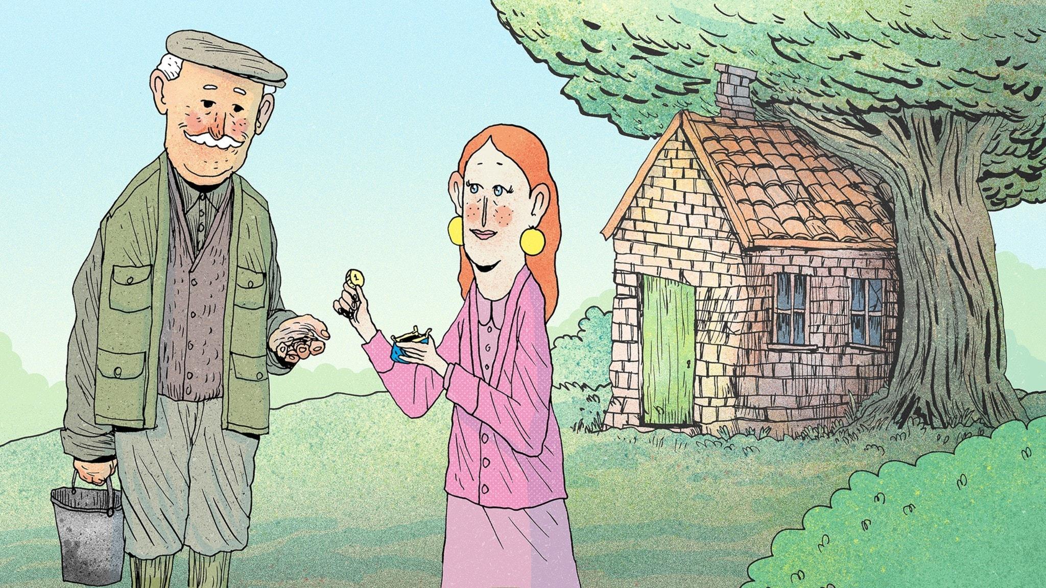 Fröken Honung betalar en slant i hyra till en bonde för att få bo i ett litet tegelhus. Bild: Erik Svetoft