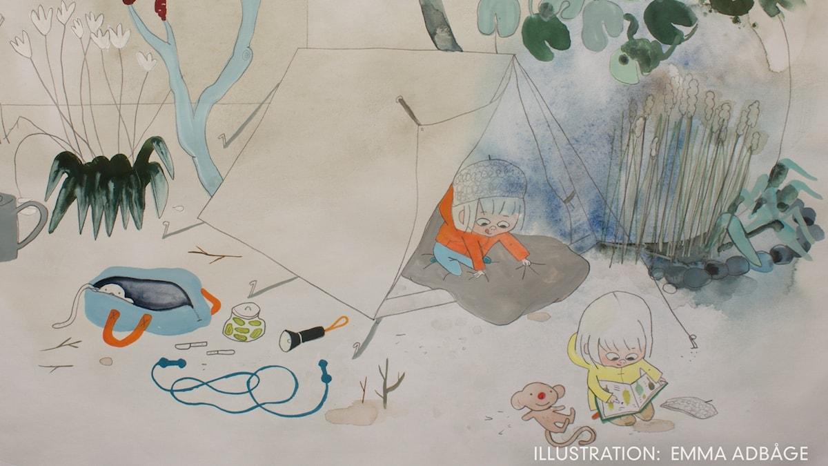 Tripp, Trapp, Träd: Äventyr  Illustration: Emma Adbåge