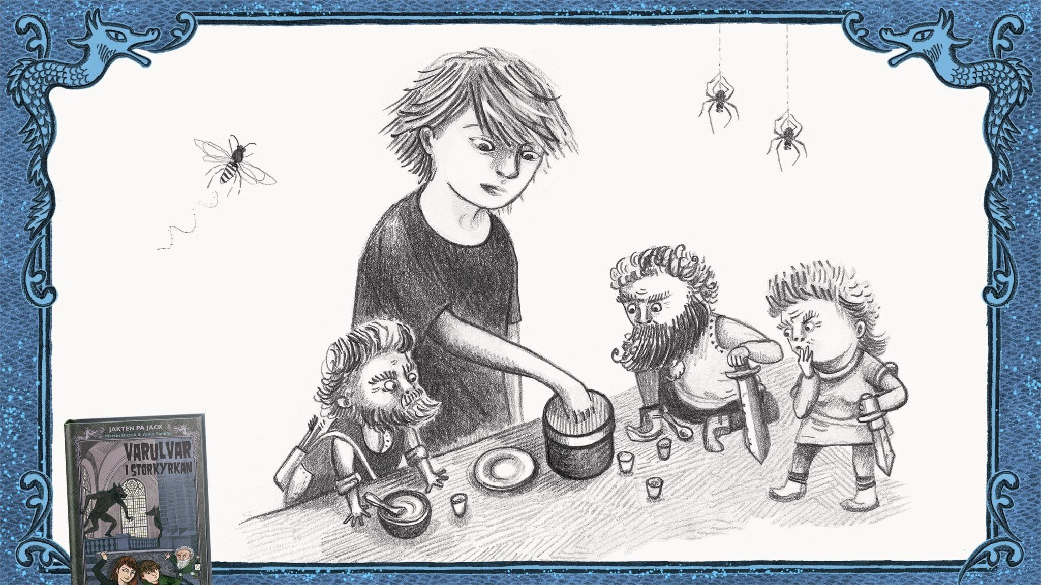 Jakten på Jack, del 12 - Jack är hos vättarna och tar en kaka genom ett burklock. Bild: Anna Sandler