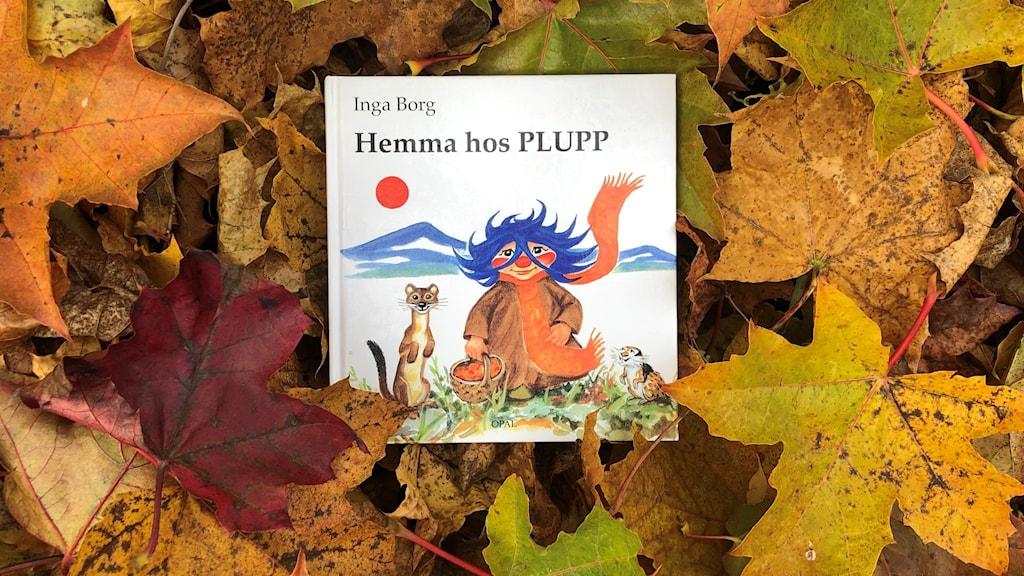 Boken Hemma hos Plupp ligger på färgglada höstlöv. Bokomslag: Inga Borg