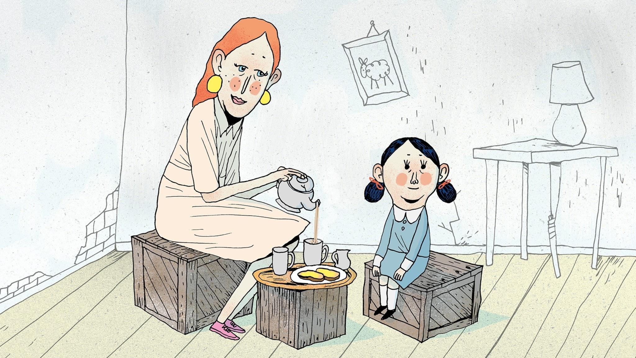 Fröken Honung bjuder Matilda på te, de sitter på ett par trälådor i ett enkelt inrett rum. Bild: Erik Svetoft