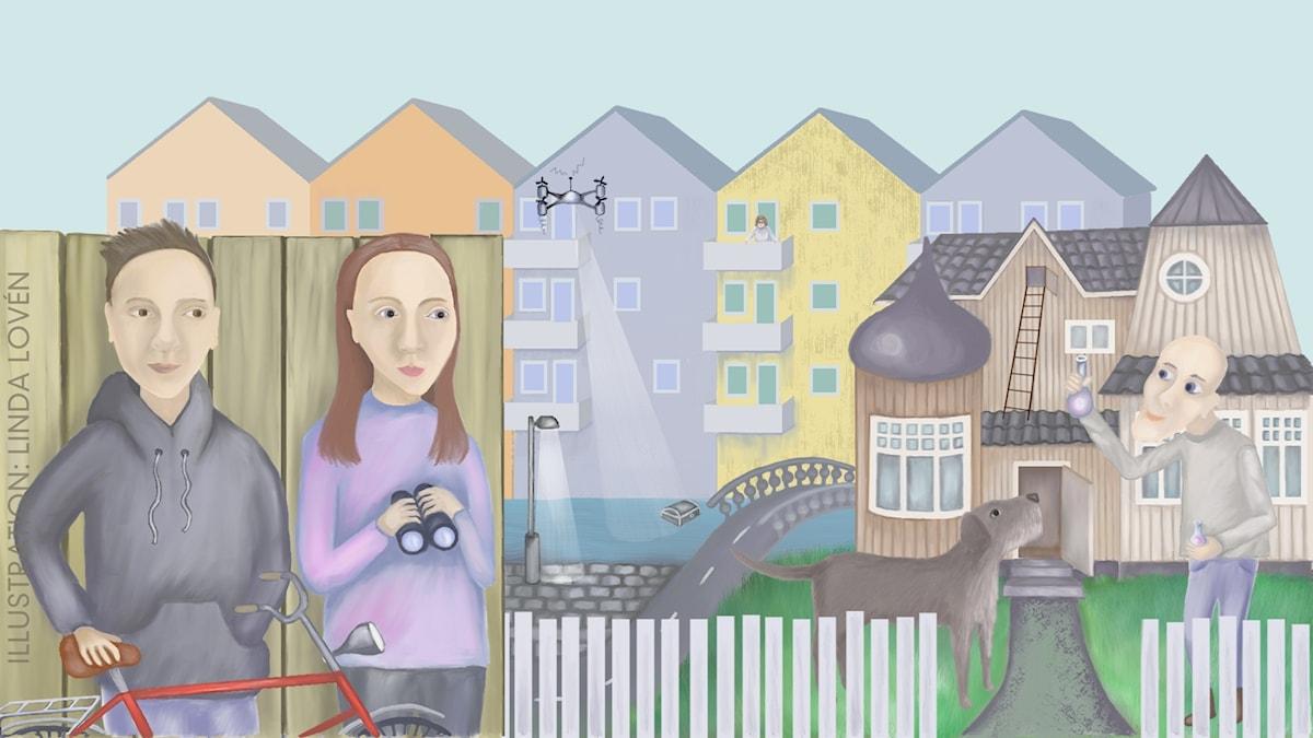 Bokstavsbanditen Del 5 av 10: Robotdrönaren Illustration: Linda Lovén
