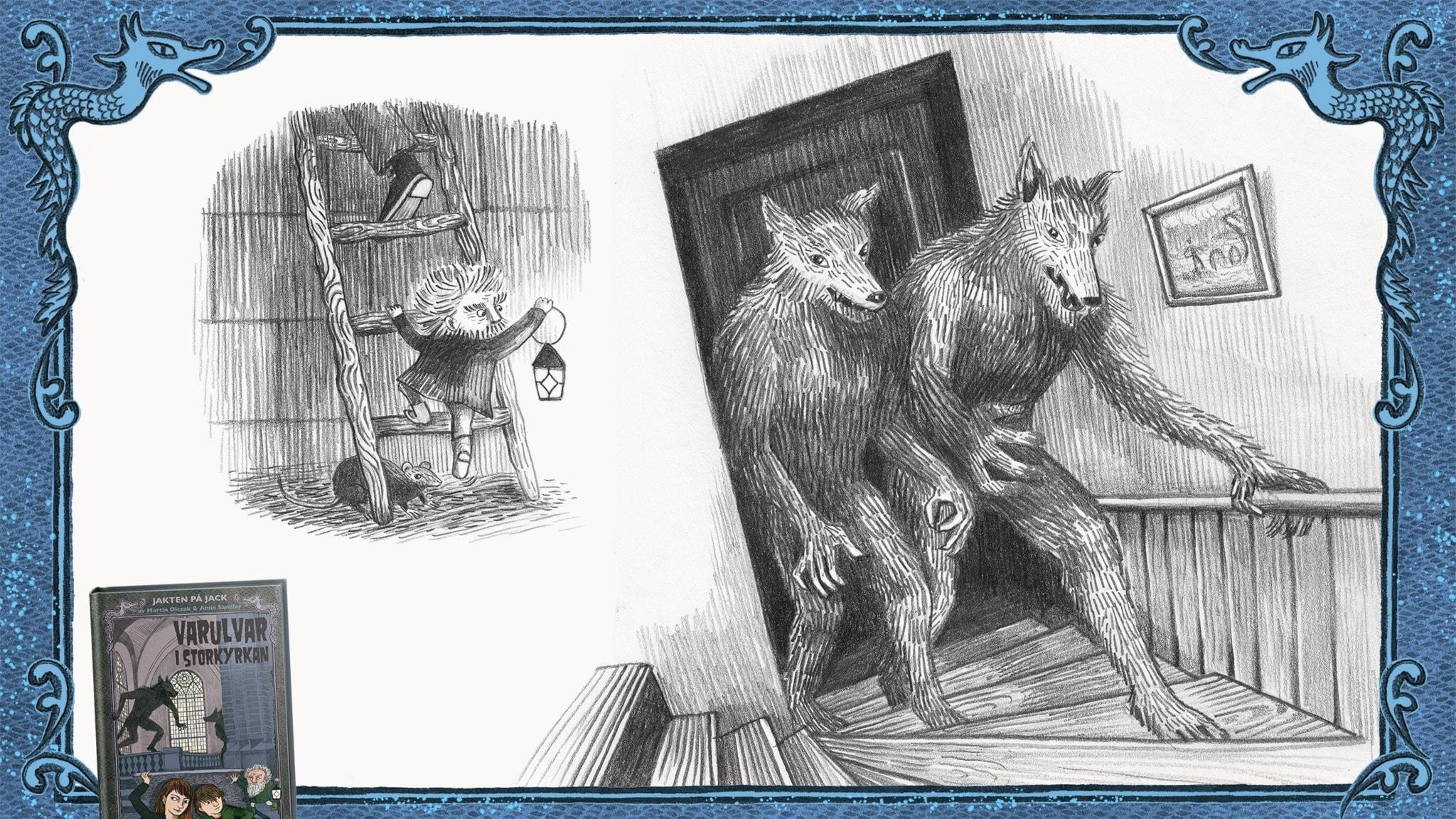 Jakten på Jack, del 14 - Två varulvar kommer uppför trappan till lägenheten i Bettys verkstad. Bild: Anna Sandler